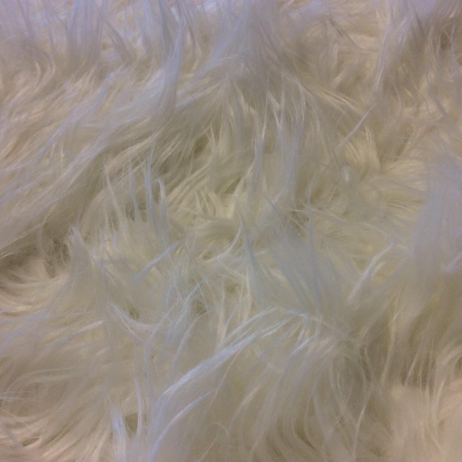 Made in Japan Faux Fur White Shagg High Pile Shag Apparel Home Decor Fabric MJ002