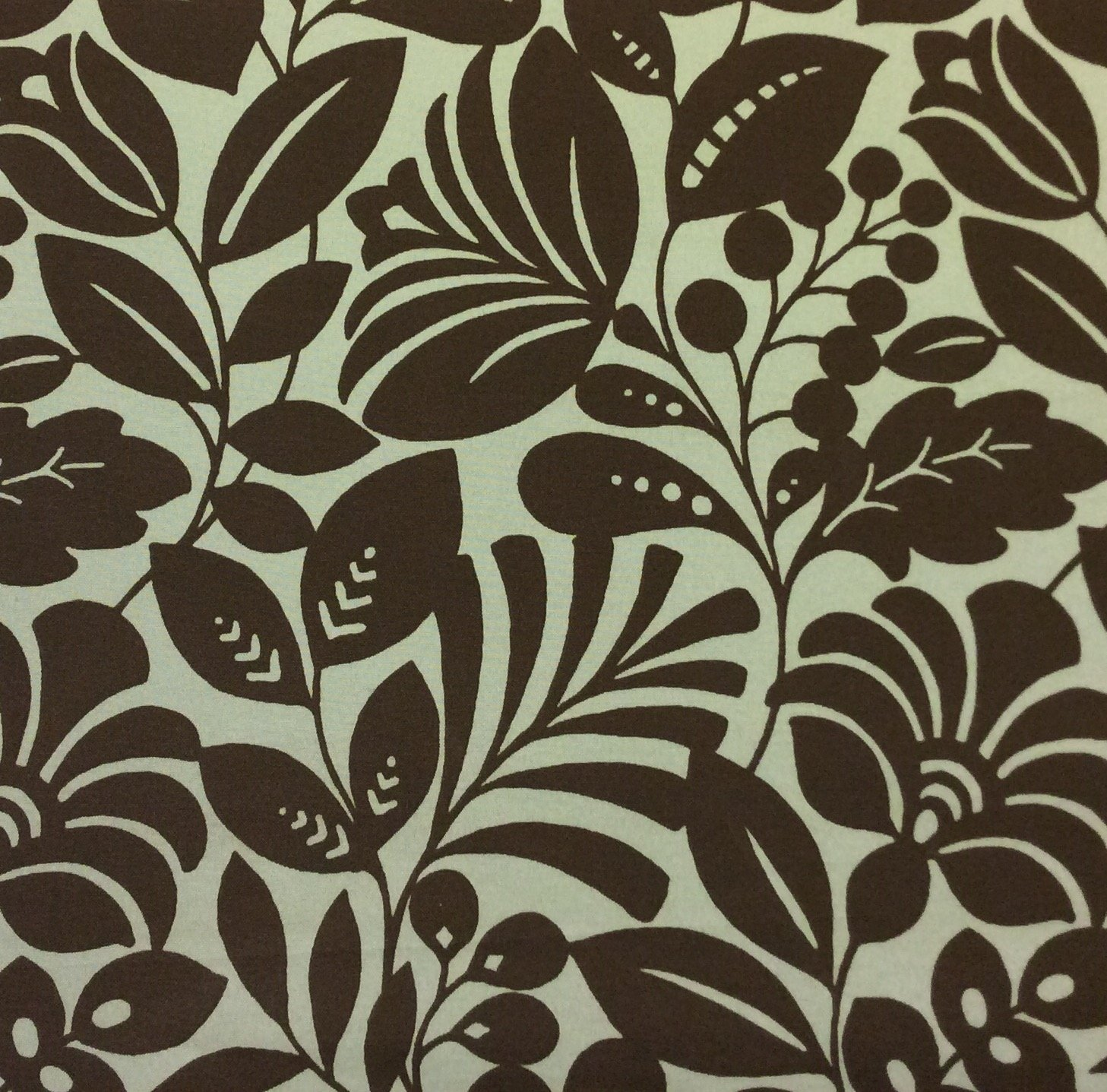 Retro Inspired Aqua and Olive Brown Floral Palm Frond Indoor Outdoor Home Decor Fabric SM22
