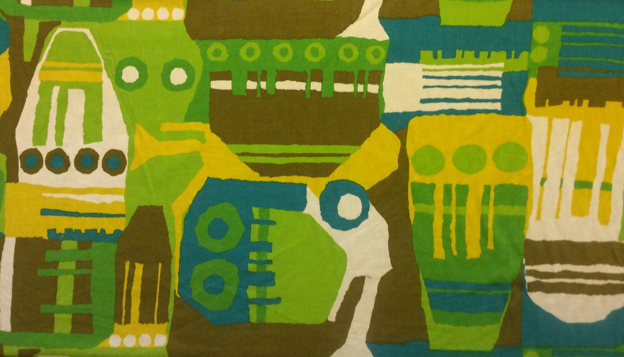 RARE! True Vintage Graphic Retro Yellow Teal and Olive Abstract Kitschy Screen Printed Mid Century Home Decor Fabric TRV005