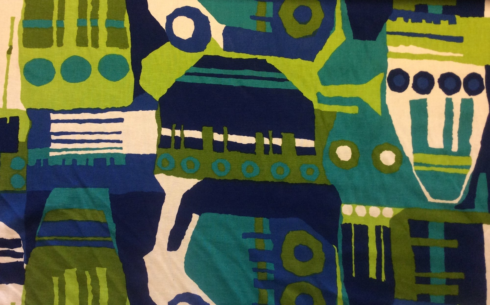 RARE! True Vintage Graphic Retro Blue and Greens Cool Tone Abstract Kitschy Screen Printed Mid Century Home Decor Fabric TRV006
