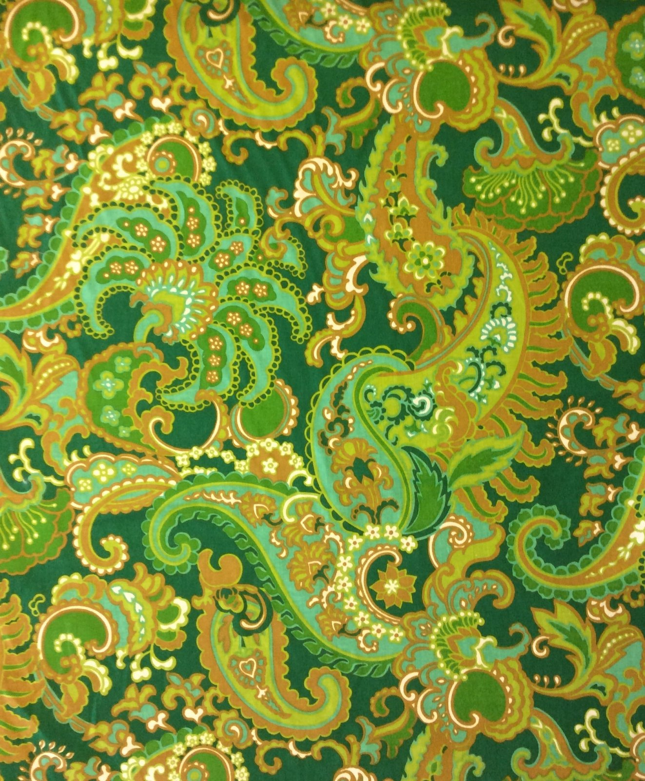 RARE! True Vintage Graphic Retro Paisley Green and Aqua Tone Abstract Kitschy Screen Printed Mid Century Home Decor Fabric TRV009