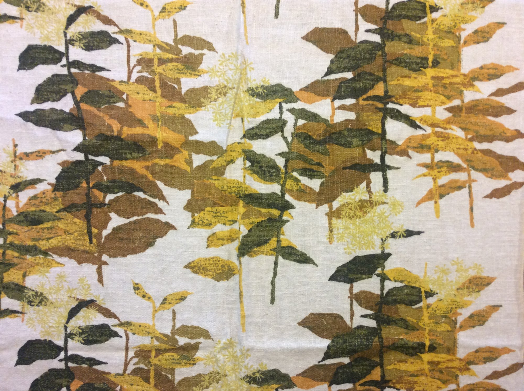 RARE! True Vintage Mustard Yellow and Olive Tone Botanical Dandelion Floral Print Kitschy Screen Printed Heavy Weight Linen Mid Century Home Decor Canvas Fabric TRV014