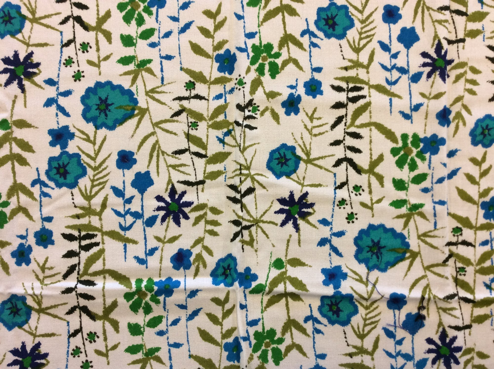 True Vintage Textured Floral Fabric Blue Purple Green Garden Print Home Decor Apparel Fabric TRV020