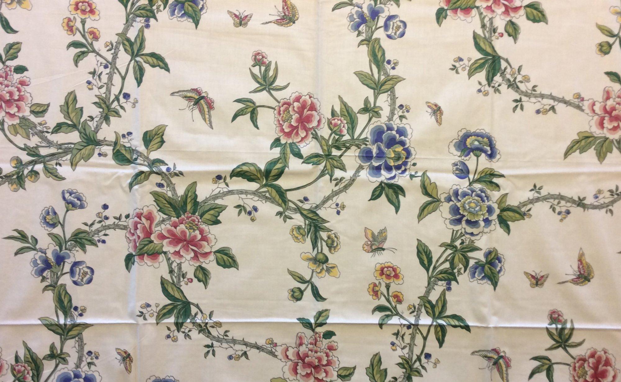 Brunschwig & Fils Flowering Tree Cotton Chintz Floral Vining Vintage Shabby Chic Home Decor Fabric JG070
