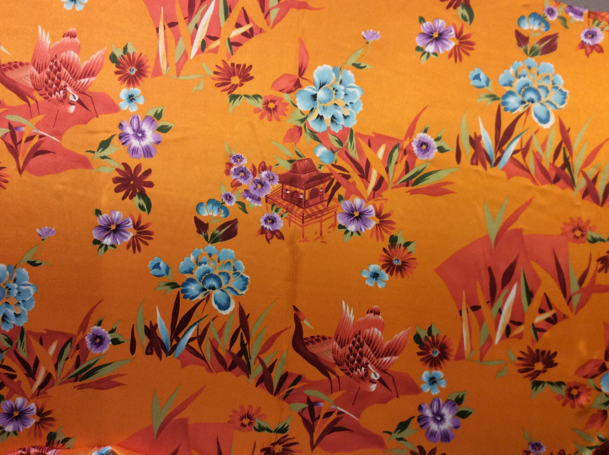 Asian Print Bright Orange Crane Pagoga Kimono Poly Silk Charmeuse Apparel Fabric FMT12