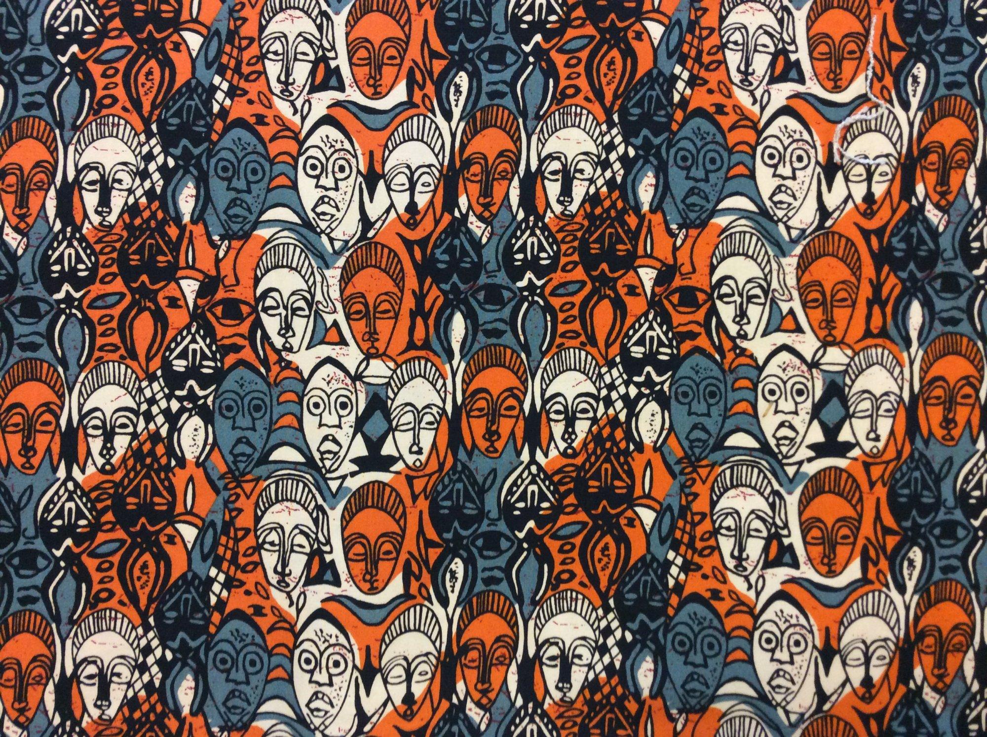 African Wax Cloth Lycra Stretch Blend Mask Orange and Gray Apparel Fabric JG080