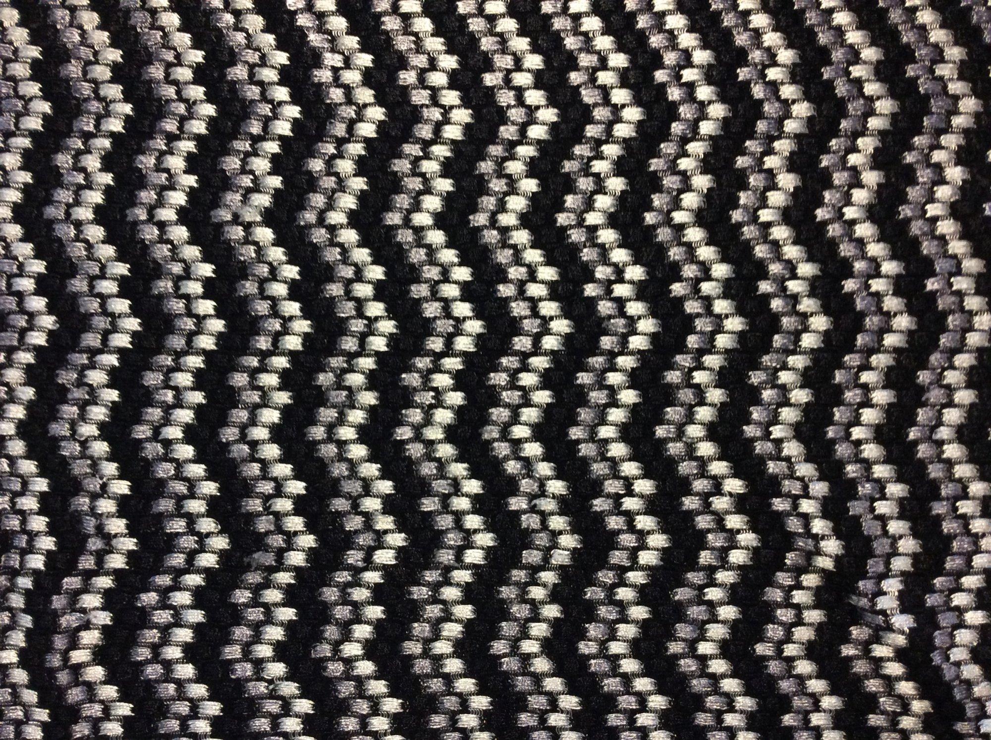 Black Gray and White Silver Knit Stretch Chevron Zig Zag Apparel Dance Fabric RM29