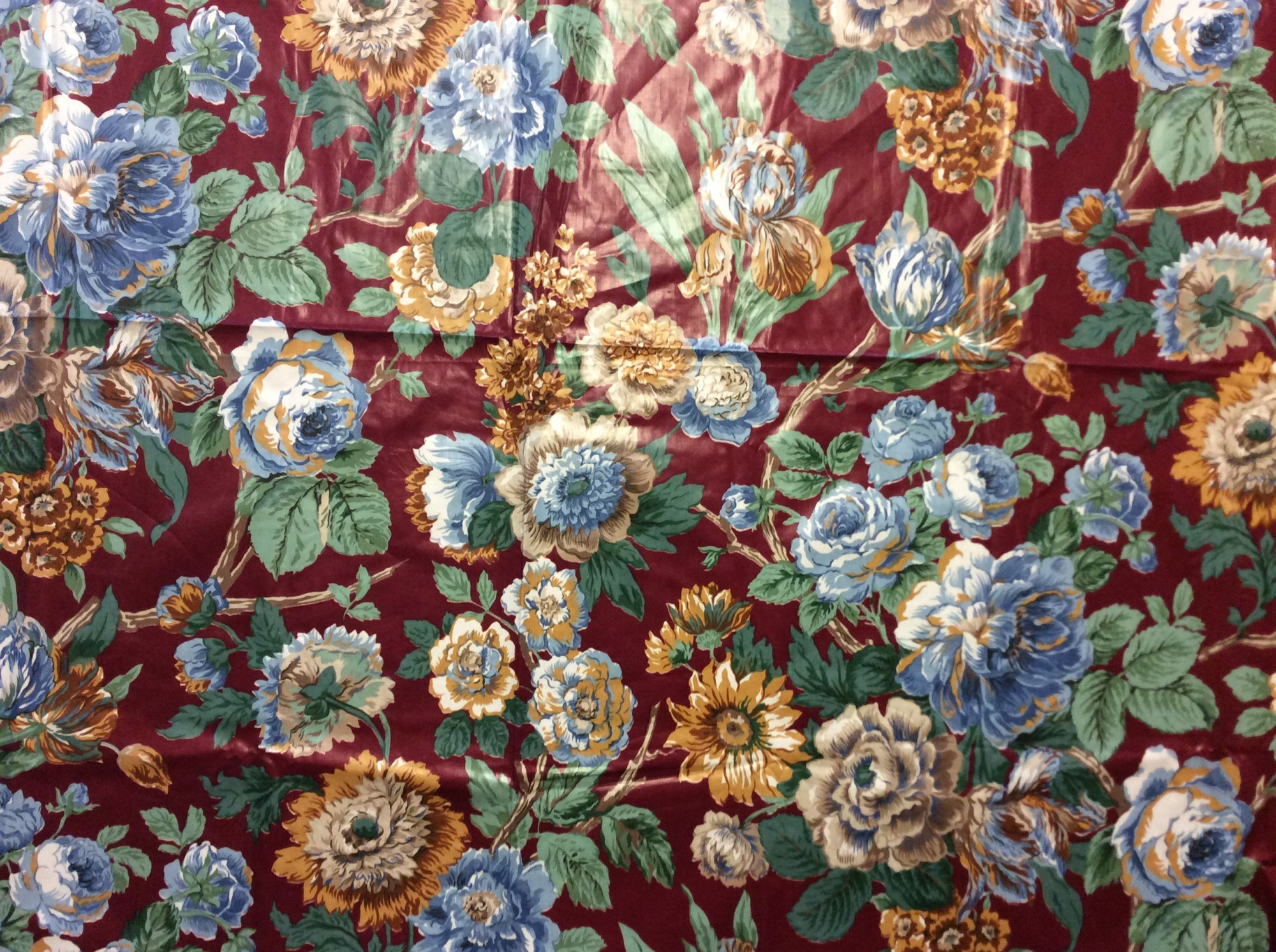 Last Piece! 2.5 yard Piece! Vintage Schumacher High End Chintz 'Gala Chintz' Floral Sunflower Burgundy Blue and Green Tradional French Country Shabby Chic Home Decor Upholstery Fabric REM012