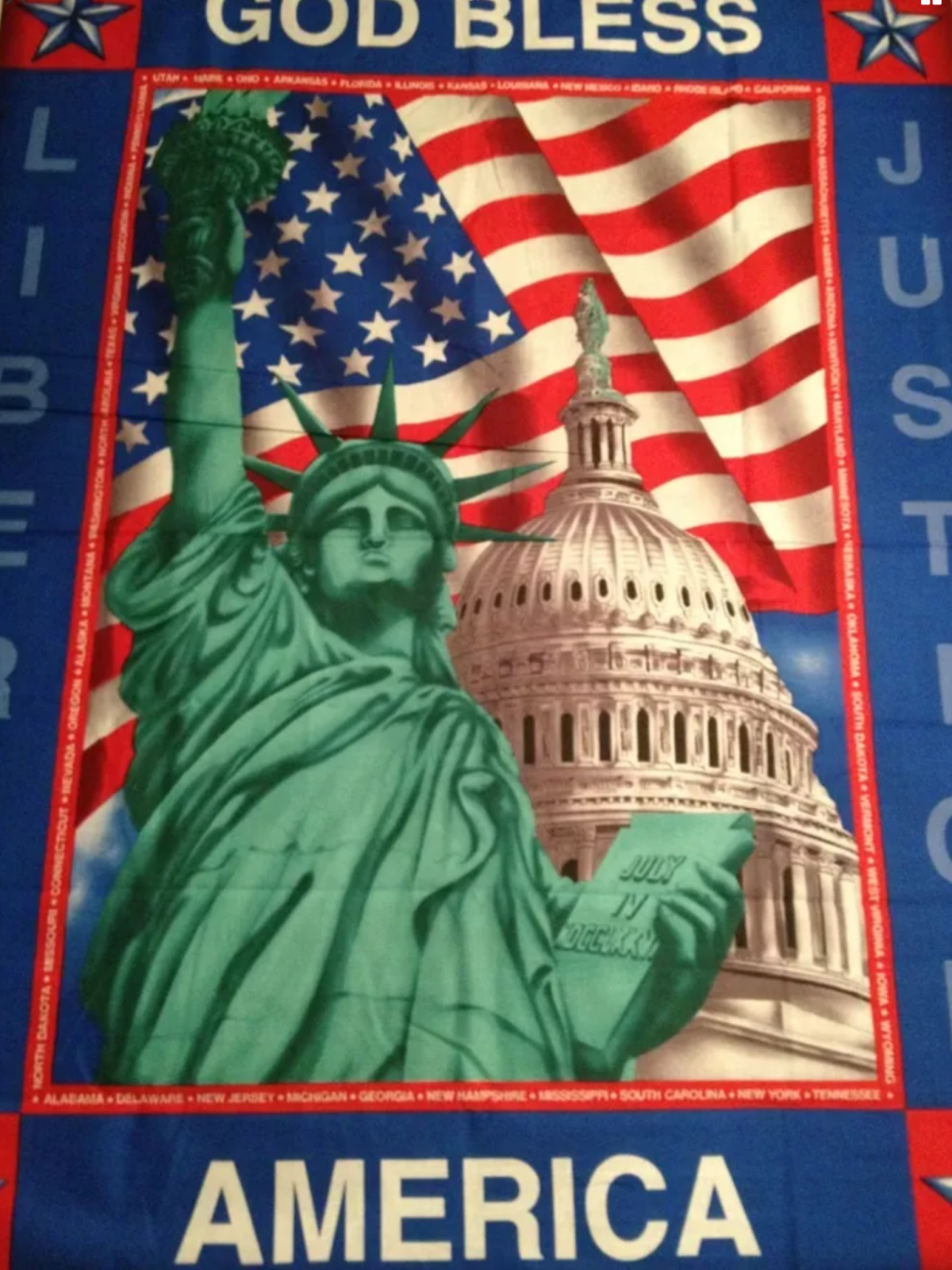 United States of America God Bless USA Statue of Liberty Patriotic Cotton Quilt Fabric Panel PNL60