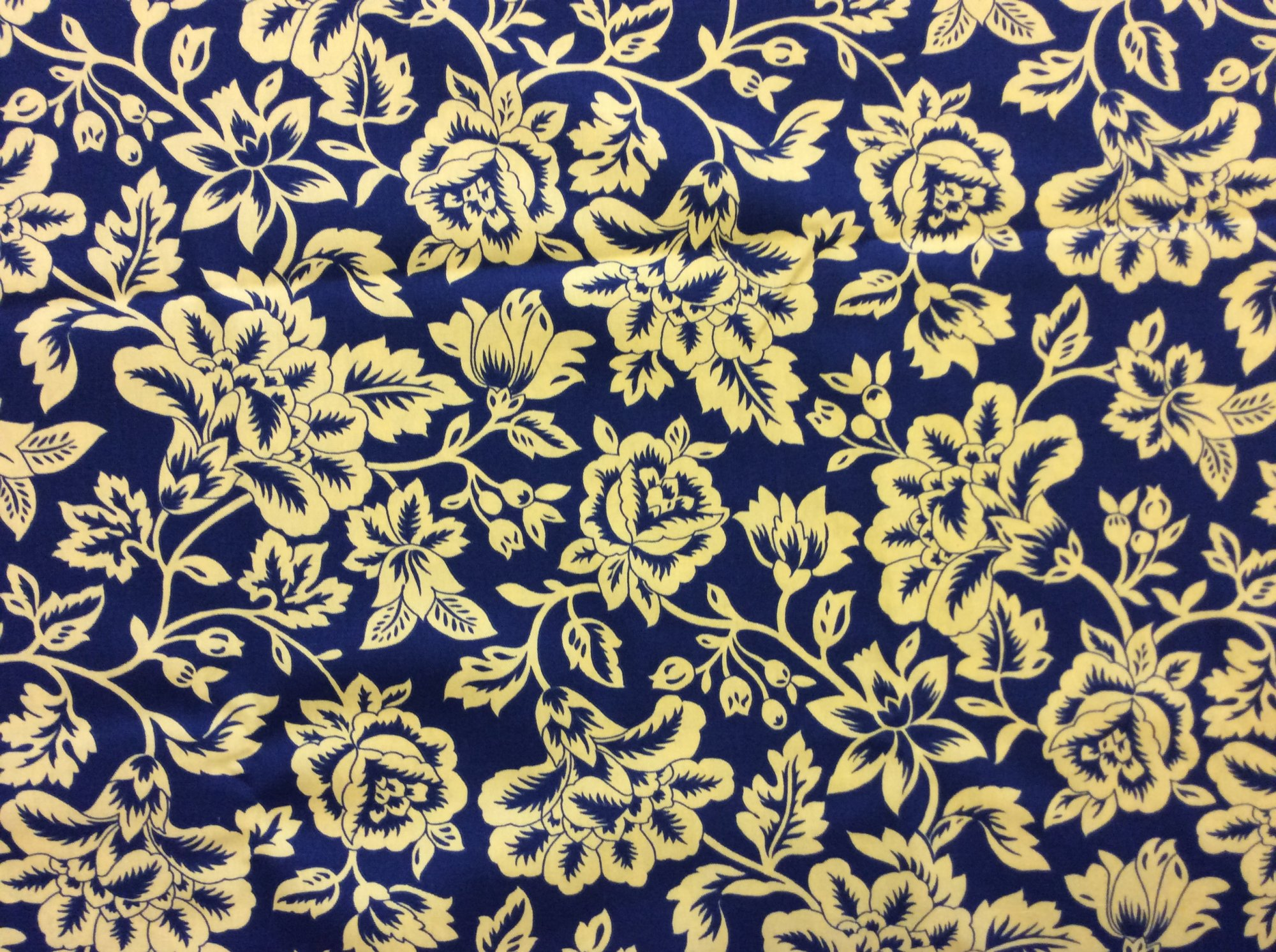 Last Piece! Indoor Outdoor Floral Mod Navy and Yellow Prep Upholstery Home Decor Fabric REM022