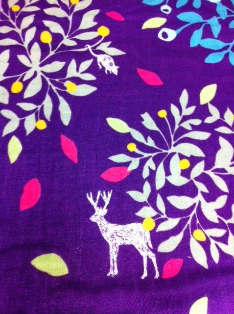 FF34 Echino Kokka Japan Kawaii Royal Purple Bird Deer Mouse Tree Retro Modern Graphic Cotton Fabric Quilt Fabric SALE! $22/yd