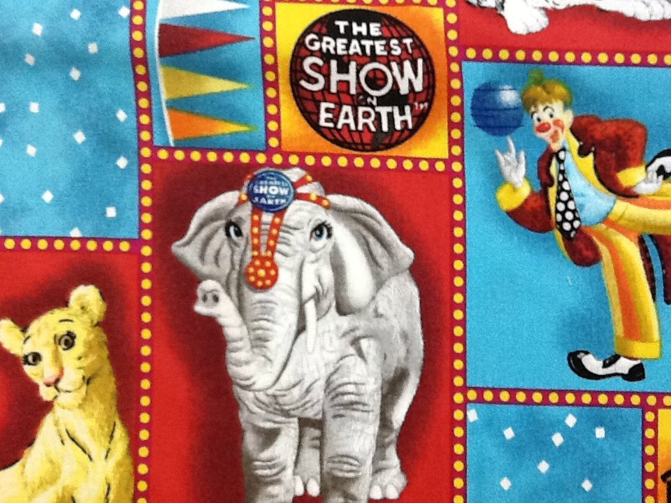 Out of Print! Last Piece, Ringling Brothers Barnum Bailey Circus Large Scale Print Quilt Fabric Cotton Fabric PCJ98