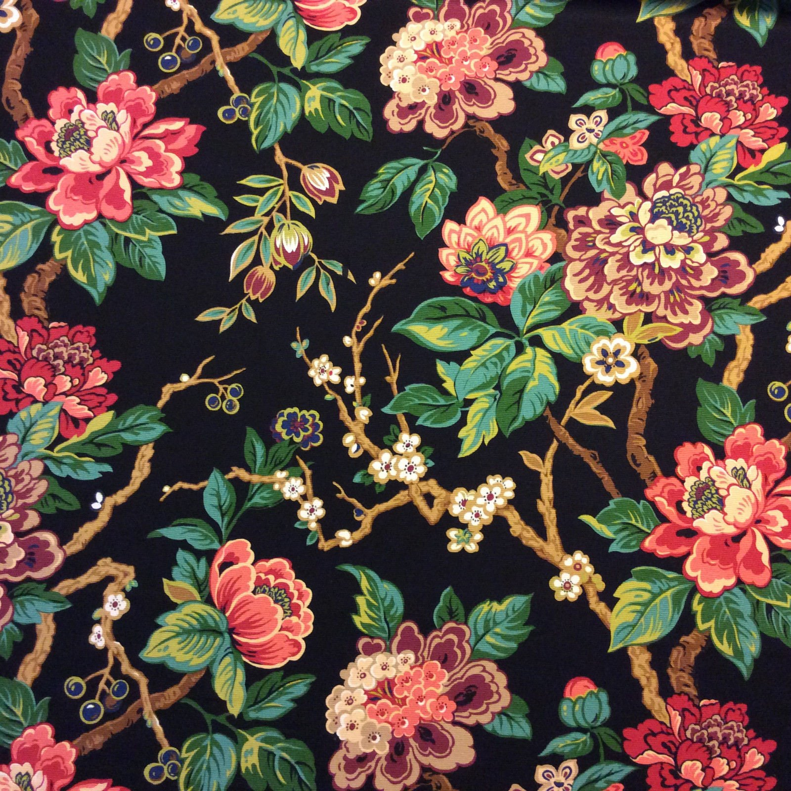Jacobean Asian Floral Branch Japanese Inspired Ottoman Upholstery