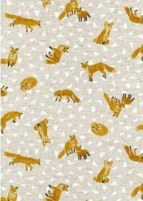 COMING SOON!  Fox Hole Retro Fox Japanese Dobby Cotton Linen Canvas Fabric