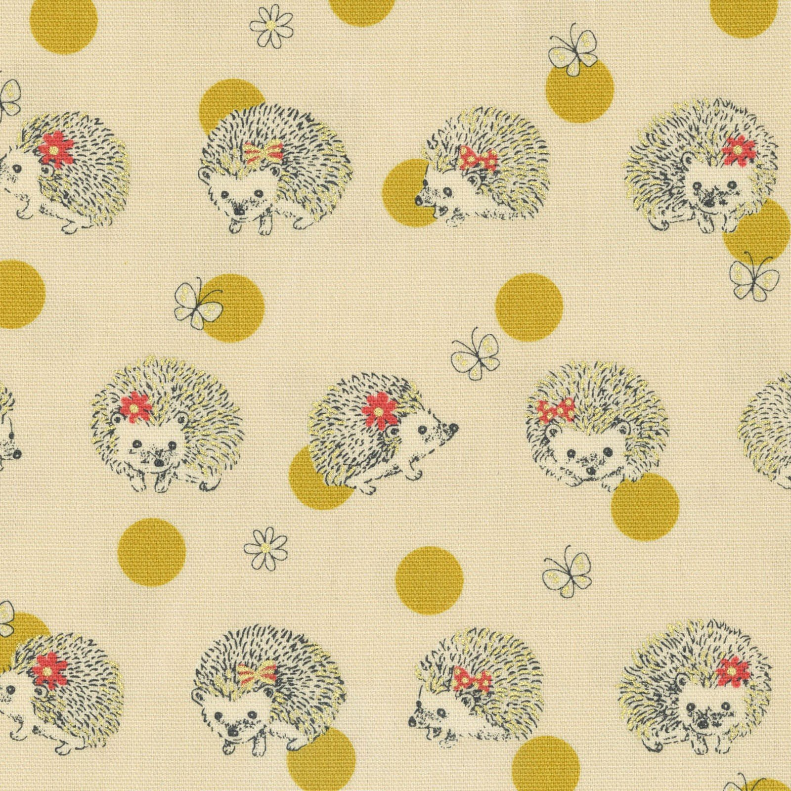 COMING SOON JULY 2018! Hedgehogs Retro Japanese Asian Cotton Oxford Cloth Cotton Fabric