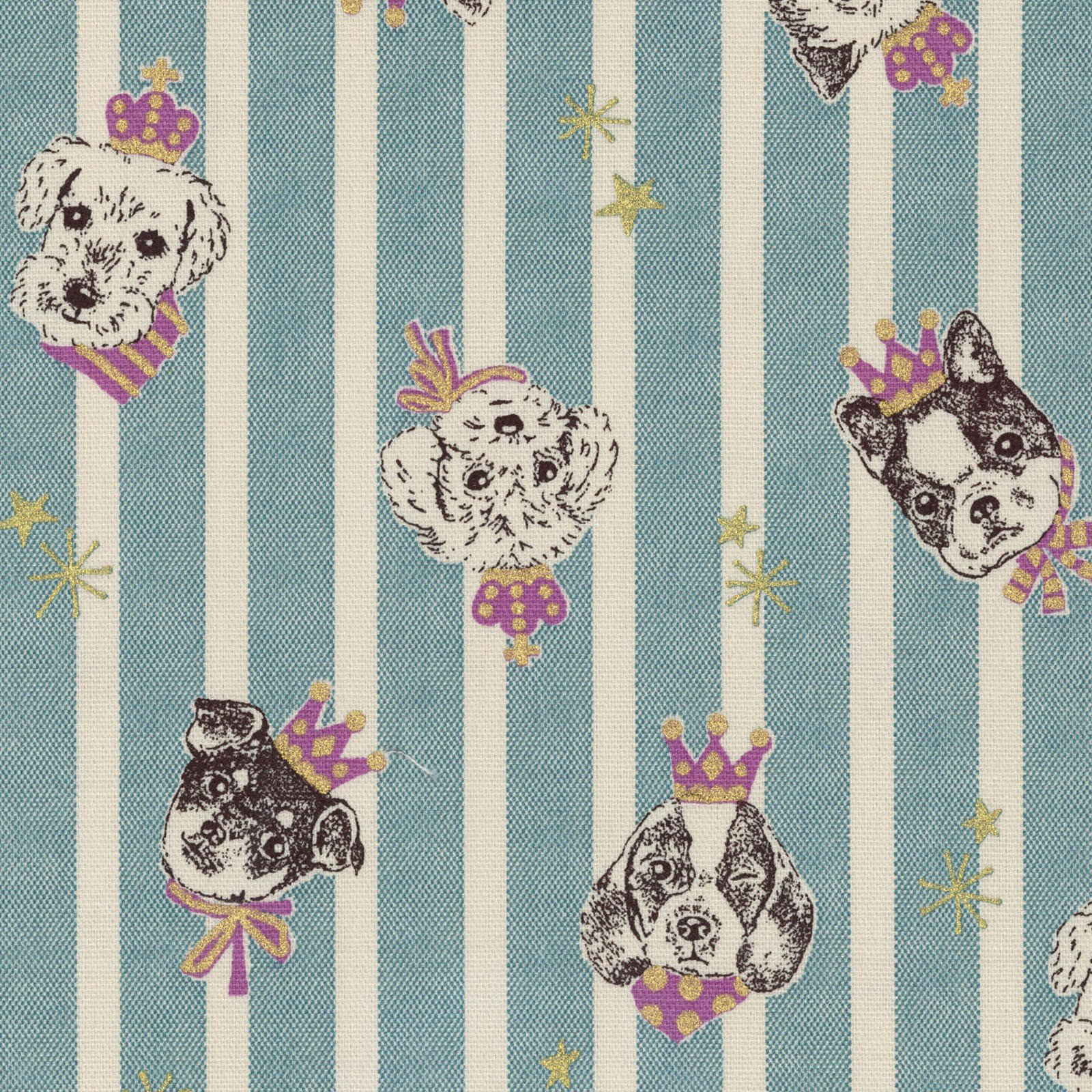 COMING SOON JULY 2018! Puppy Dogs Royal Crown Stripe Retro Japanese Asian Cotton Oxford Cloth Cotton Fabric