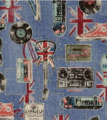 British Invasion UK Retro Rock and Roll Music Japanese Dobby Cotton Linen Canvas Fabric SK03