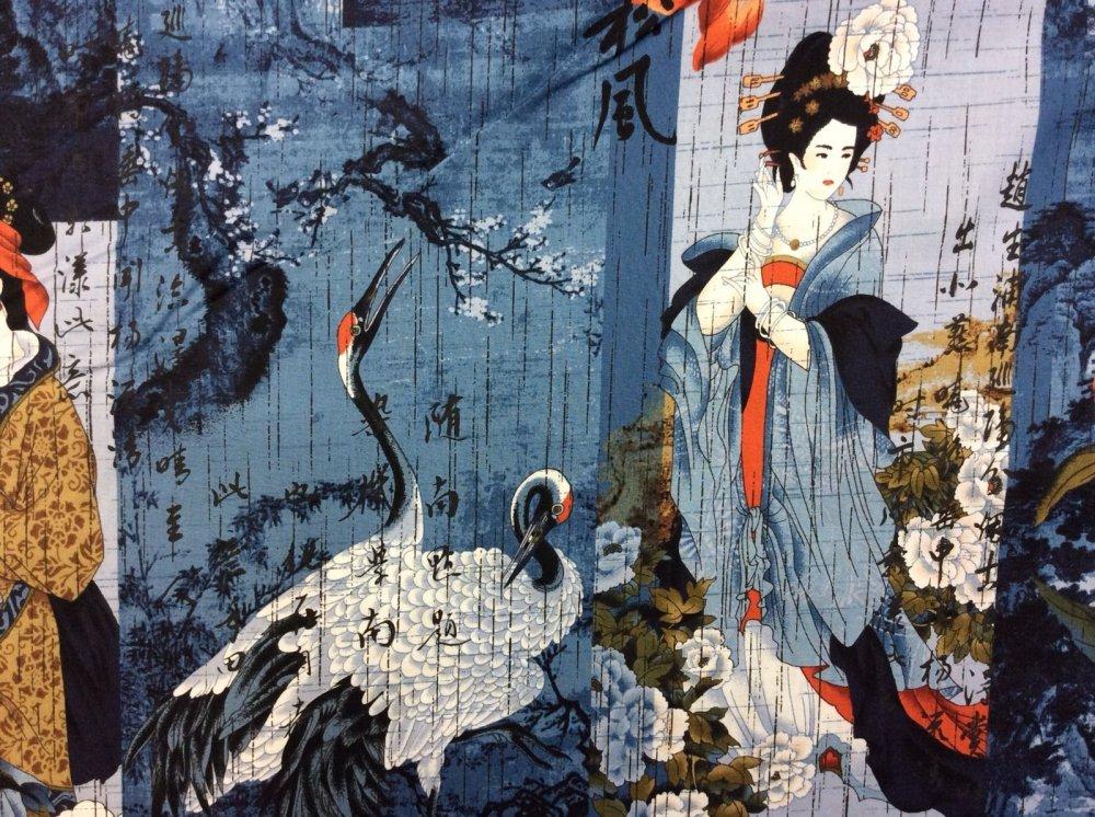 Asian Crane Geisha Bamboo Flowers Blocks Cotton Fabric Quilt Fabric KB08