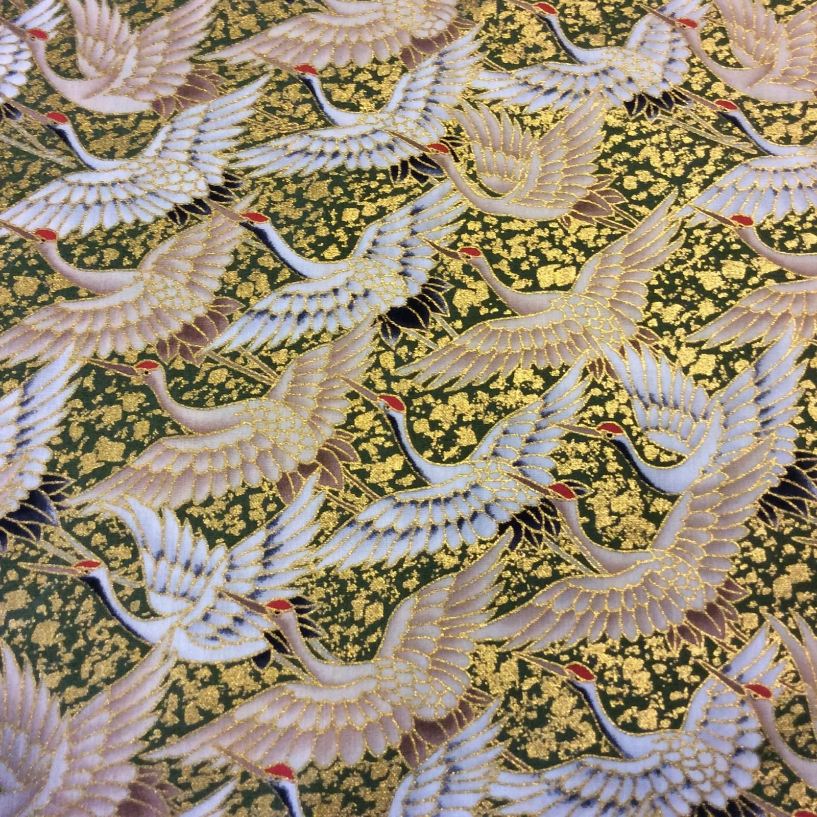 Crane Japan Bird Asia Gold Obi Metallic Kimono Yukata Cotton Quilt Fabric KB14