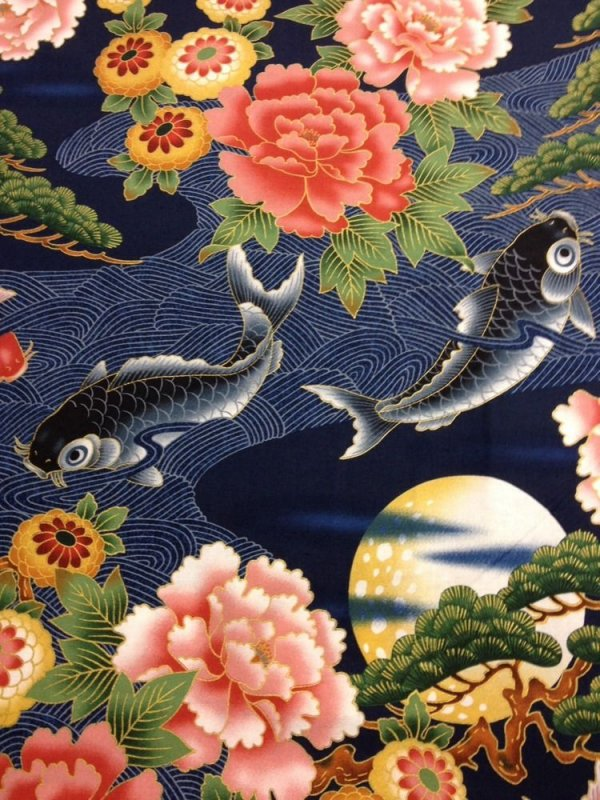 Koi Fish Pond Japanese Gardens Floral Asian Bonsi Blue Cotton Quilt Fabric  KB04