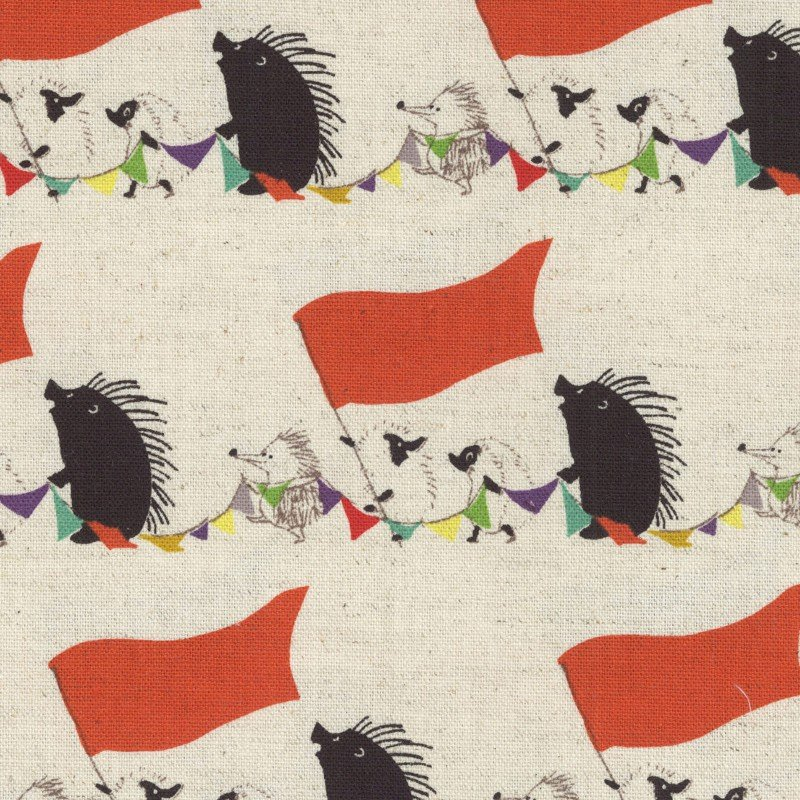 Japanese Asian Hedgehog Circus Bitte Mitte Canvas Cotton Linen Fabric SK27