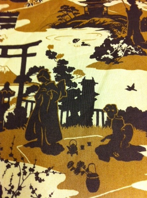 Geisha Cherry Blossom Temple Pagoda Browns Silhouettes Cotton Fabric Quilting Fabric L48