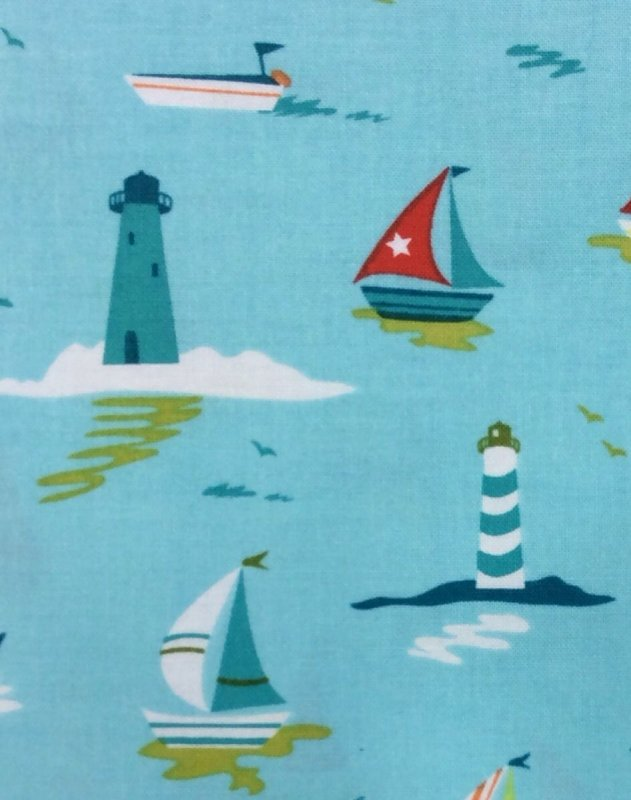 Lighthouses And Sailboats Cotton Fabric Quilt Fabric L91