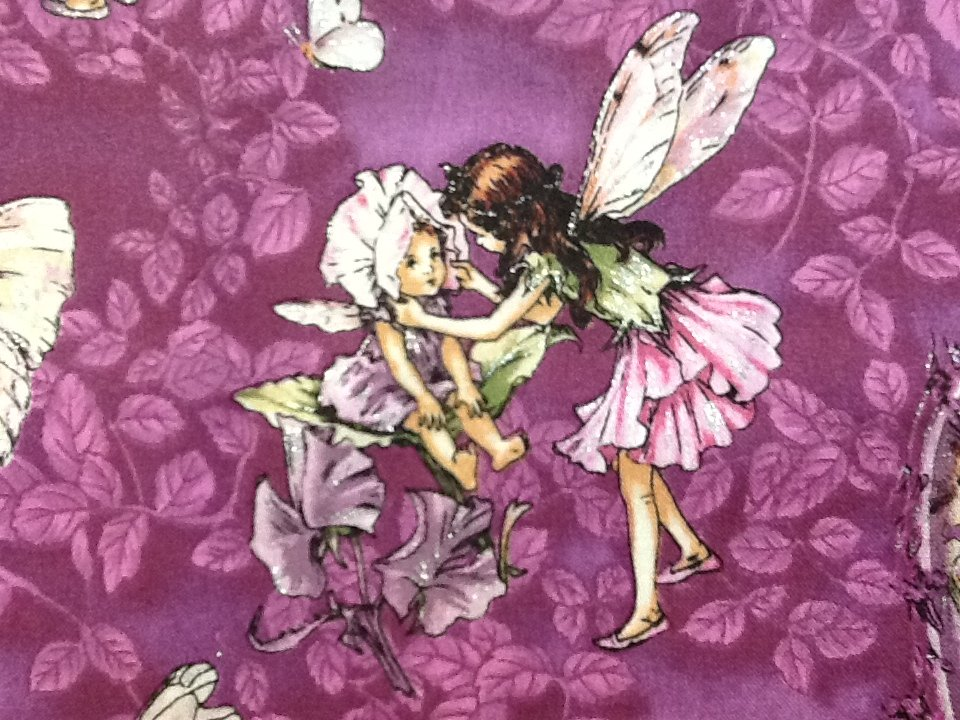 Flower Fairies Fairy Cecily Barker Purple with Silver Metallic Glitter Quilt Fabric Cotton Fabric L98