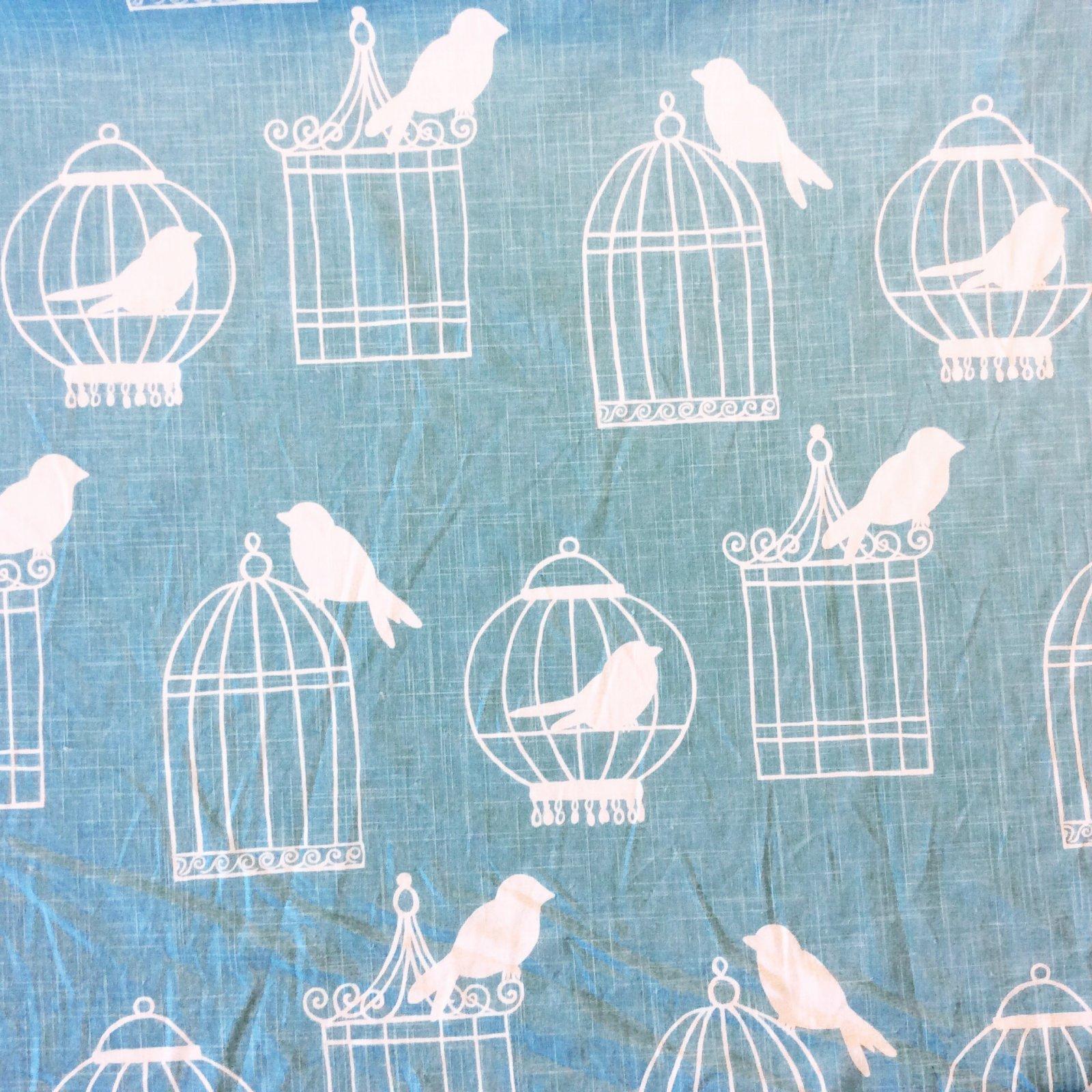 Bird Modern Silouhette Linen Texture Aqua Blue Birdcages Cotton Linen Fabric Drapery Fabric LDSO510