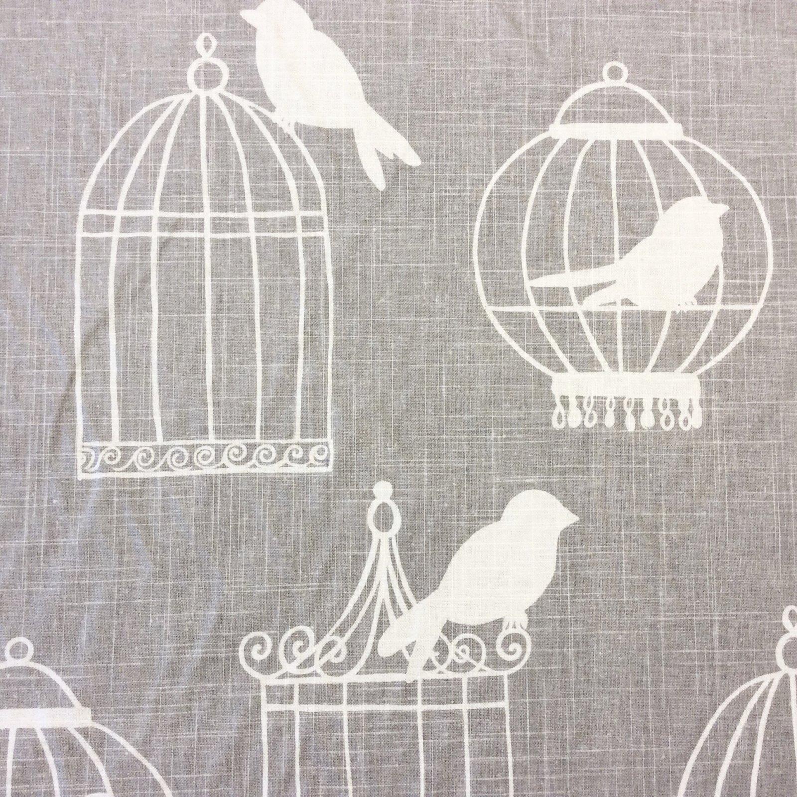 Bird Modern Silouhette Linen Texture Smoke Birdcages Cotton Linen Fabric Drapery Fabric LDSO511