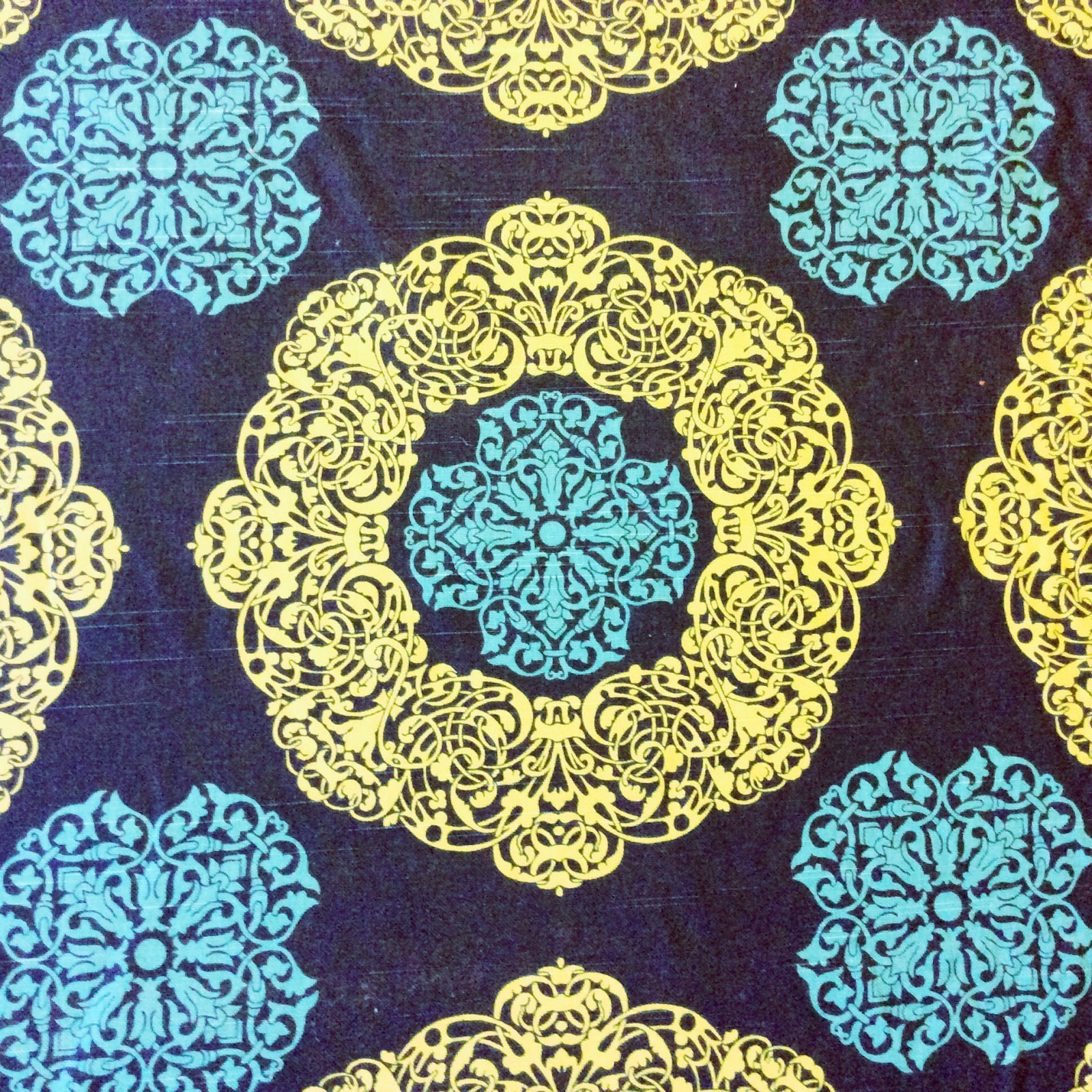 LDSO529 Blue & Green Navy Geometric Medallion Drapery Upholstery Home Decor Fabric Surburban Home Duralee Soul 72080-41