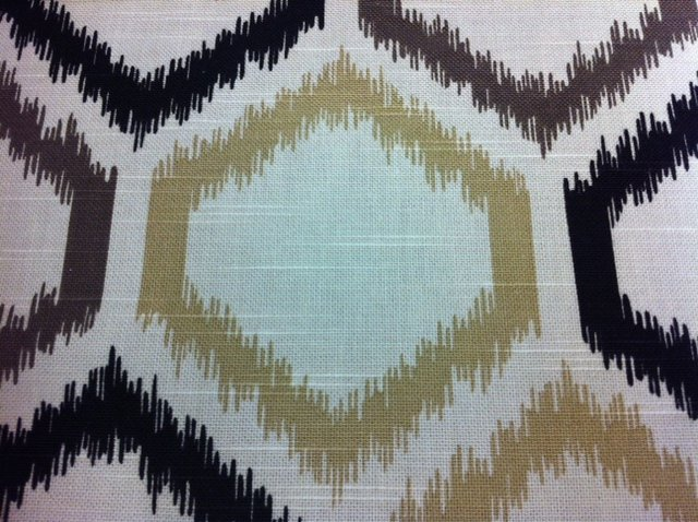 Dwell studios for Robert Allen Beige Black with Tan Black and Taupe Honeycomb Ikat style LHD005