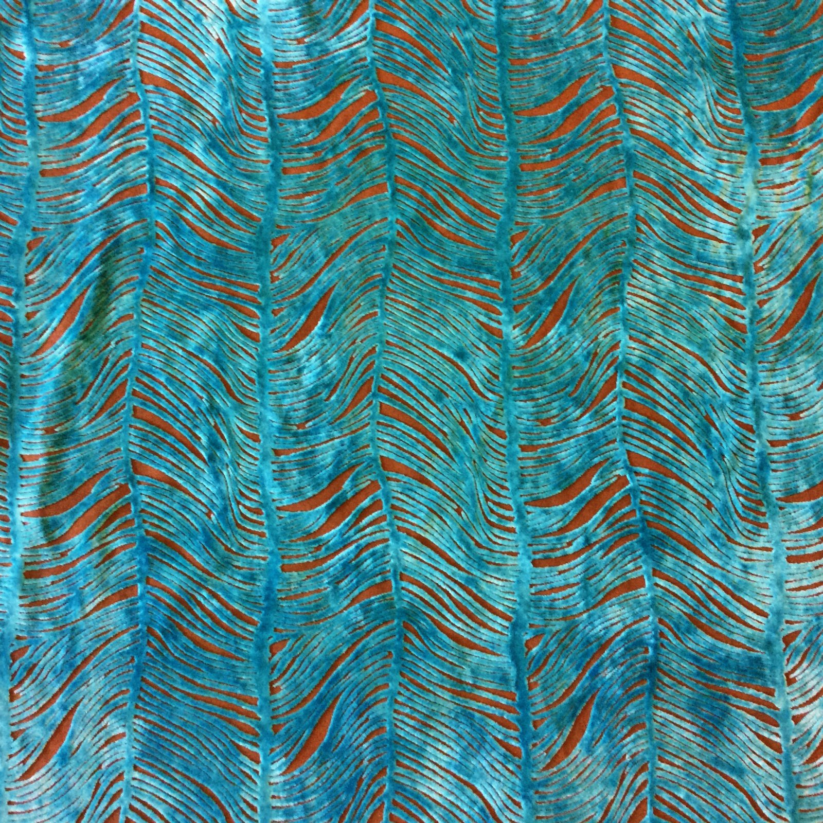 Peacock Plume Luxurious Cut Velvet Turquoise Blue Heavy Velvet Upholstery Fabric LHD151-A