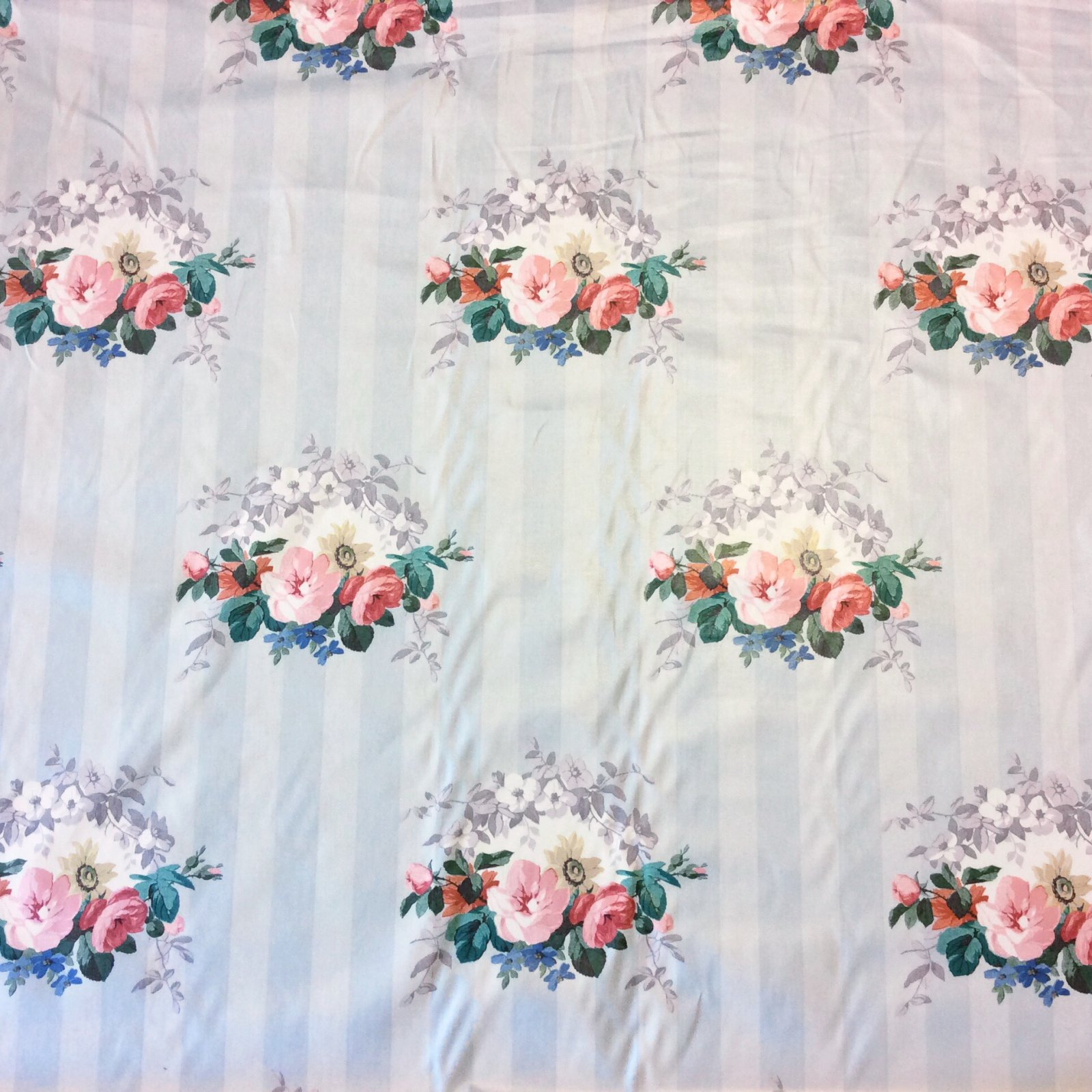 Ralph Lauren Chintz Shabby Chic English Garden Rose Floral Striped Polished Cotton Vintage Drapery Fabric LHD201