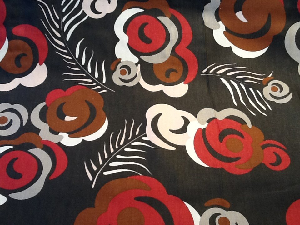 Dwell Studio Retro Modern Floral Feather Bold Red Grey Cotton Fabric Upholstery Fabric SALE! $22/yard LHD202