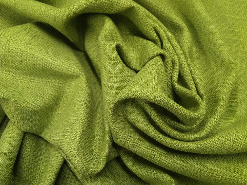 Solid Textured Lime Green Linen Blend Solid Lightweight Upholstery Drapery Home Dec Fabric LHD212-27