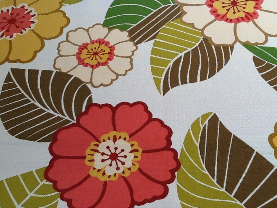 Large Floral Bright Pinks Yellow Cream Green Brown Lime Stain