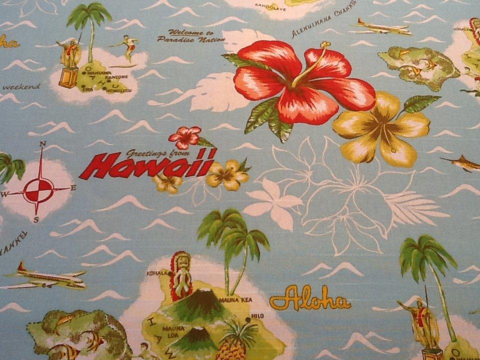 Tommy Bahama Hawaii Aloha Flower Palm Tree Map Island Retro Surf