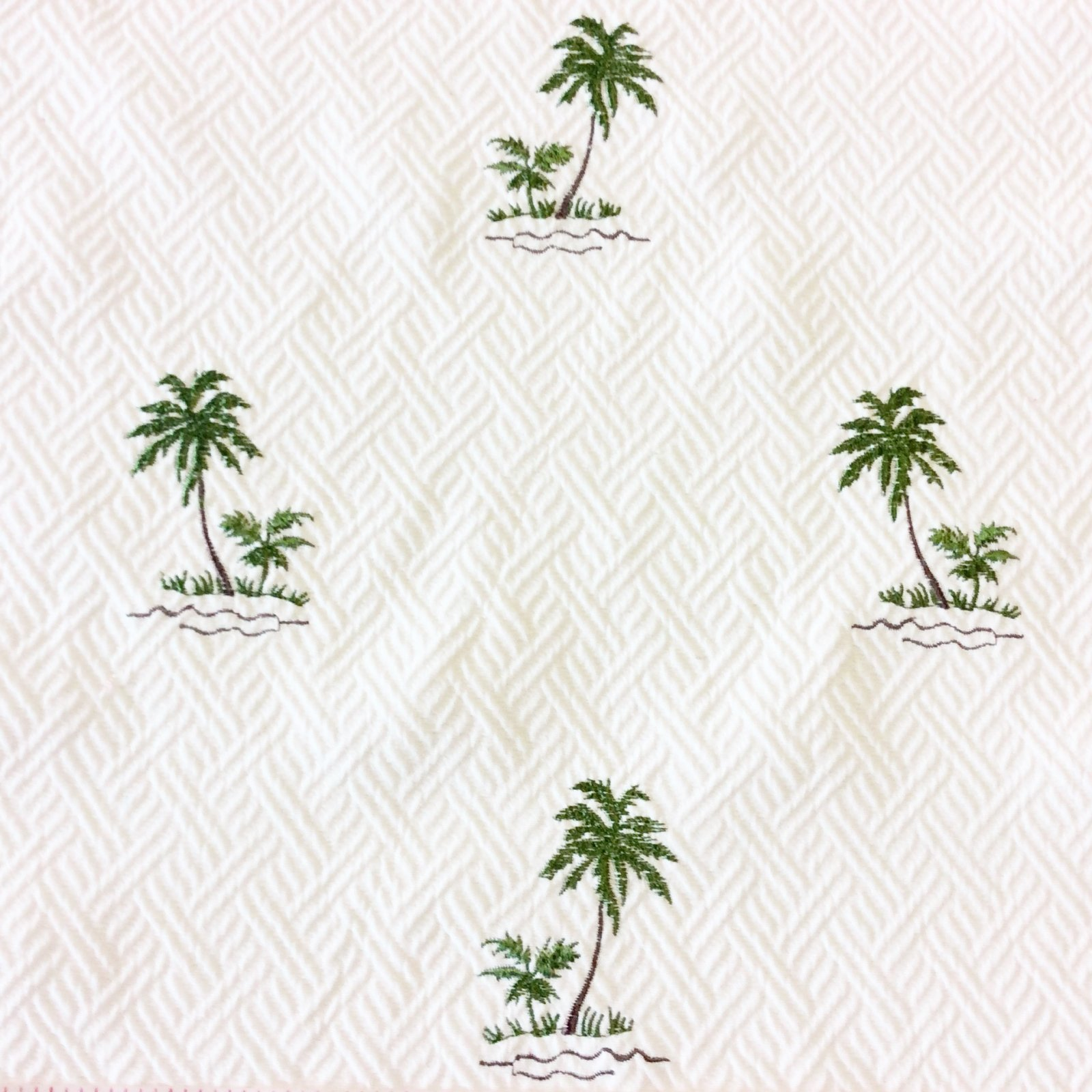 Tommy Bahama Heavy Cotton Fabric Palm Trees Embroidered White Matelasse Upholstery Fabric LHD239