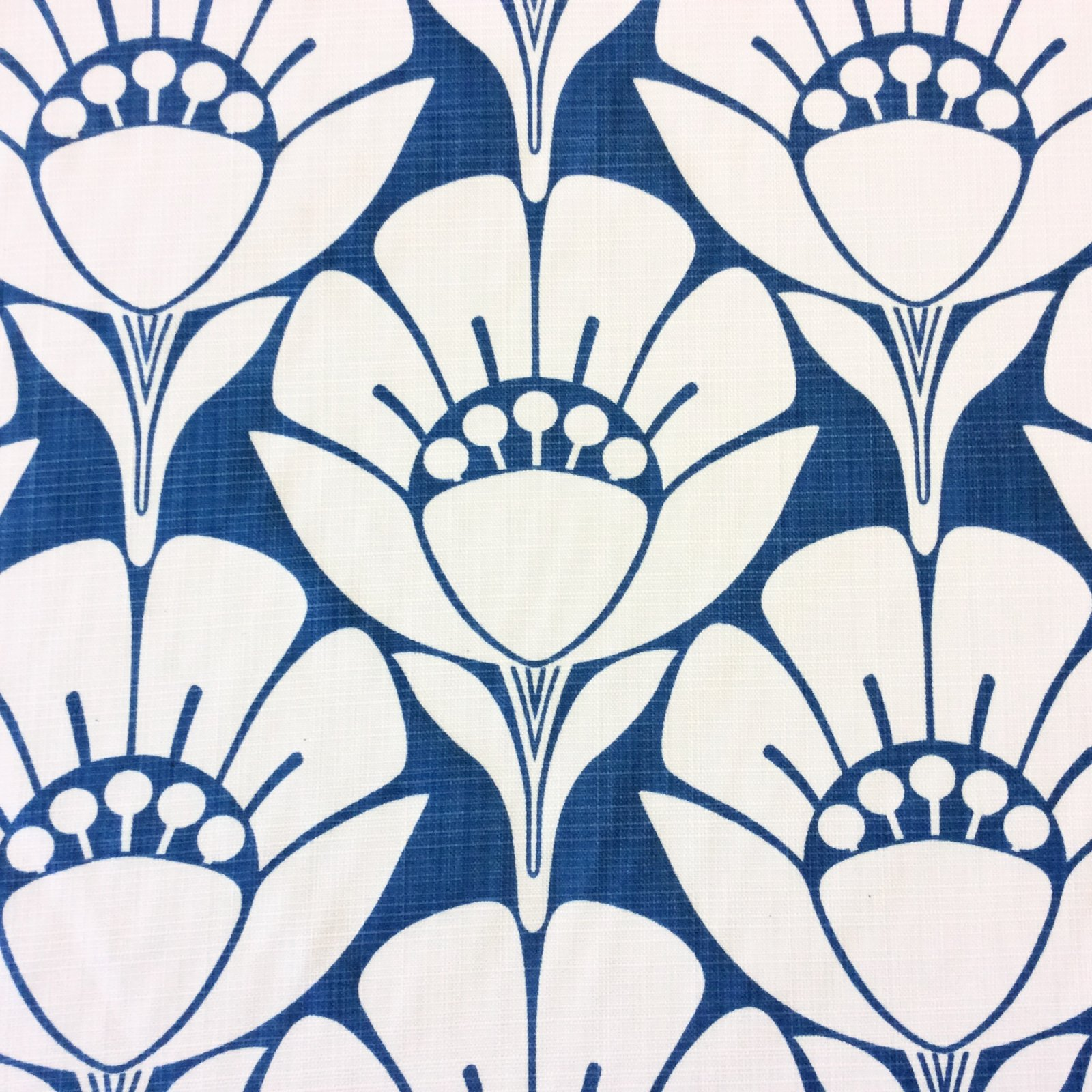 Floral Blue & White Floral Art Deco Retro Modern Spa Indoor Outdoor Fabric LHD240