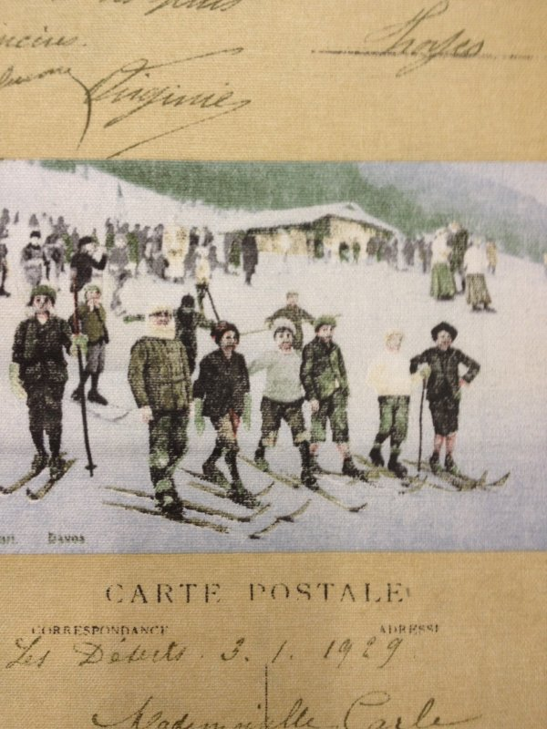 Script French Caligraphy Ski Resort Vintage Photo France Postcard Cotton Fabric LHD283A