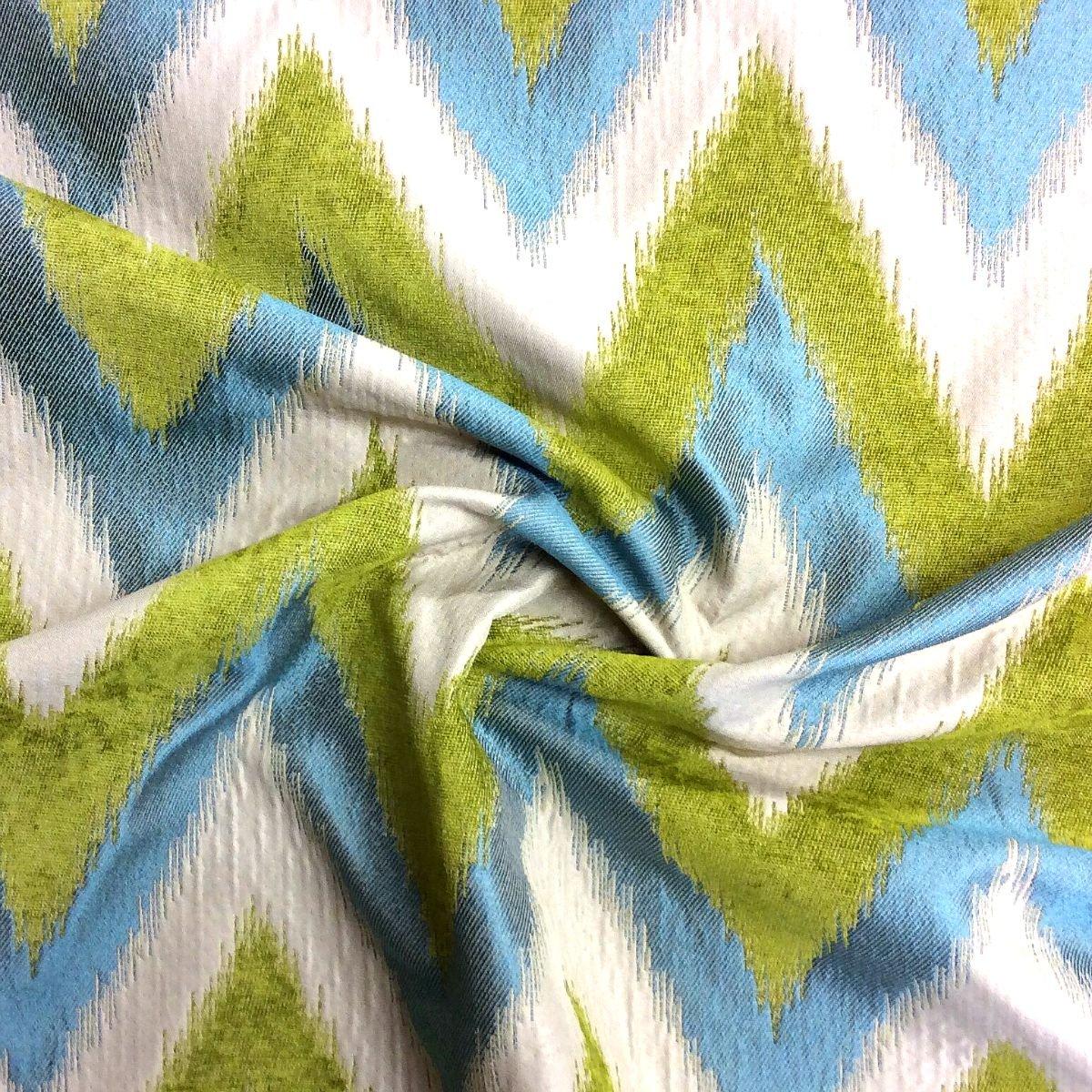 Ikat Chevron Lime Turquoise Cream Zig Zag Ethnic Flame Stitch Heavy