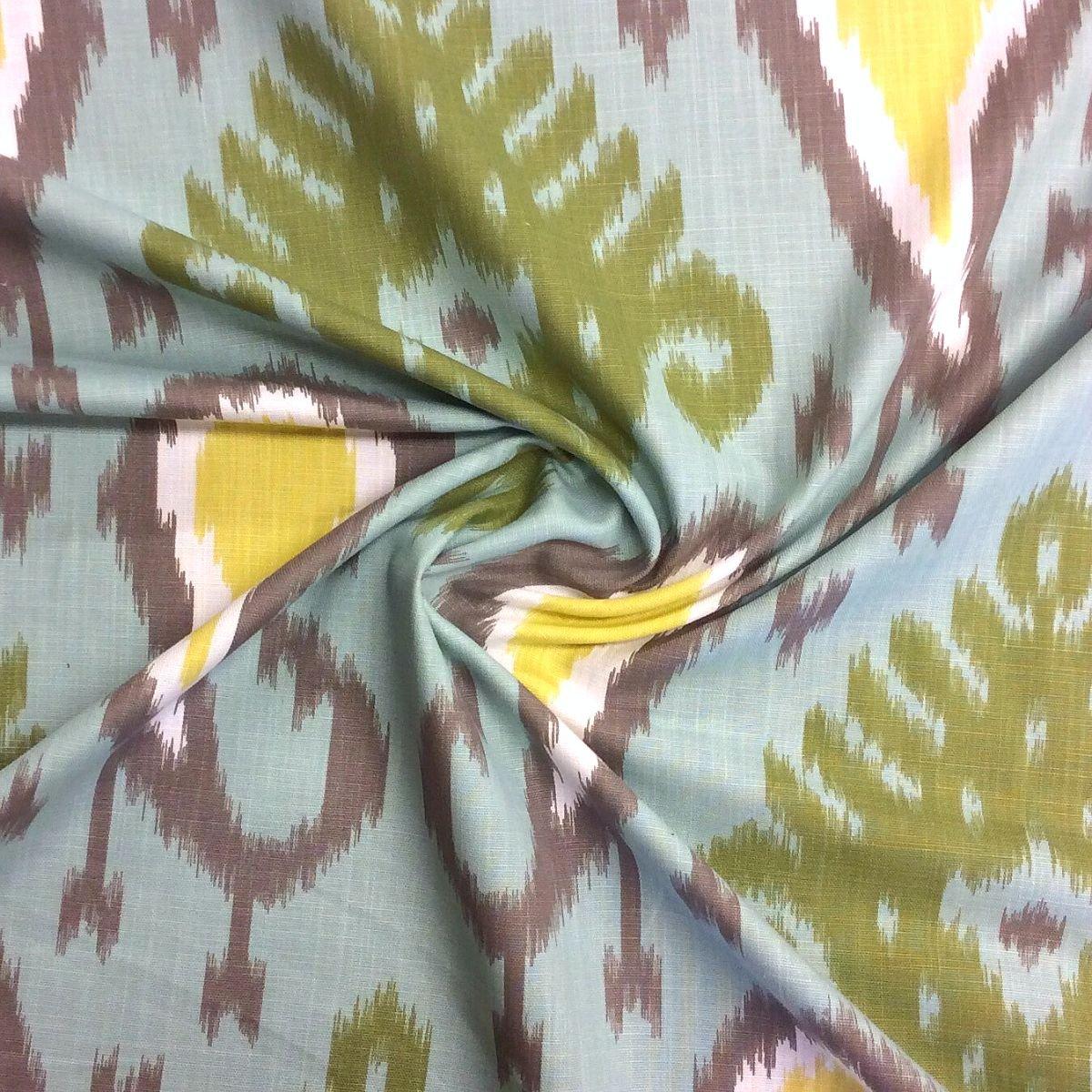 IKAT Tribal Aquamarine Large Scale Heavy Cotton Fabric Drapery Fabric Upholstery Fabric  LHD111