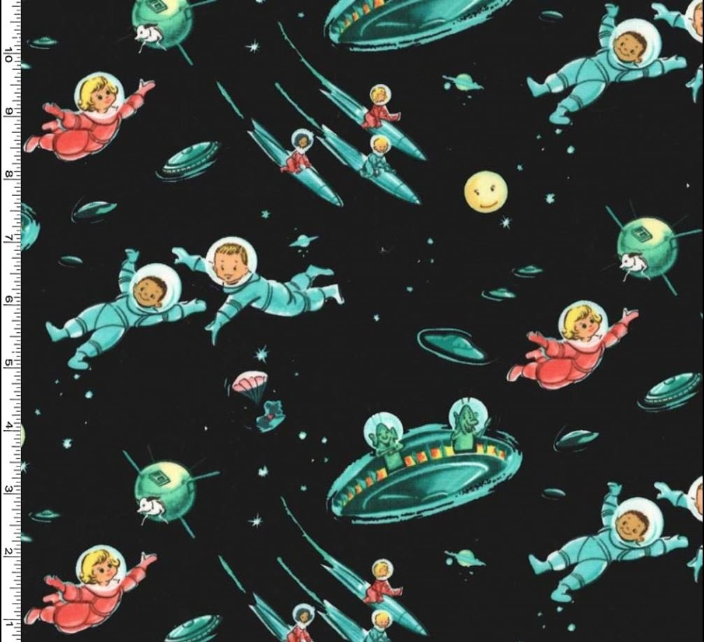 Mid century scandinavian modern for Space themed fabric