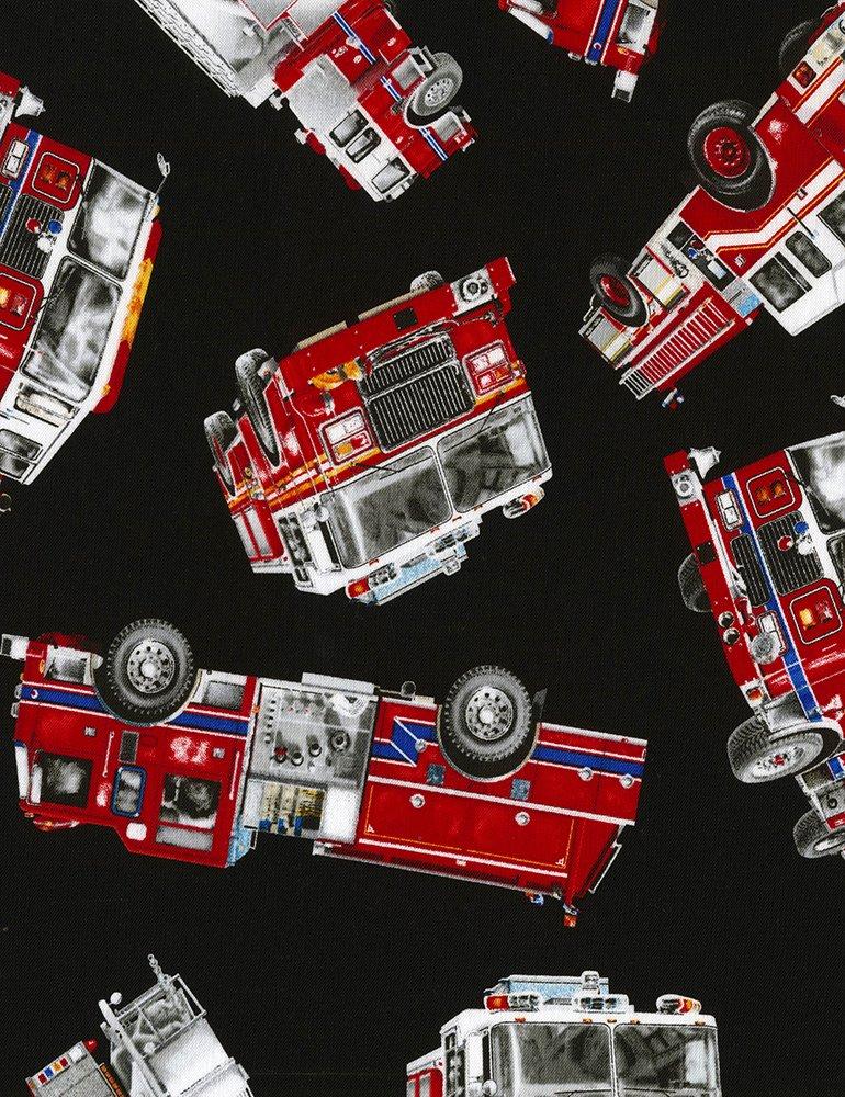 EMERGENCY Firetruck Emergency Fireman First Responder Hook & Ladder Cotton Quilt Fabric TT106