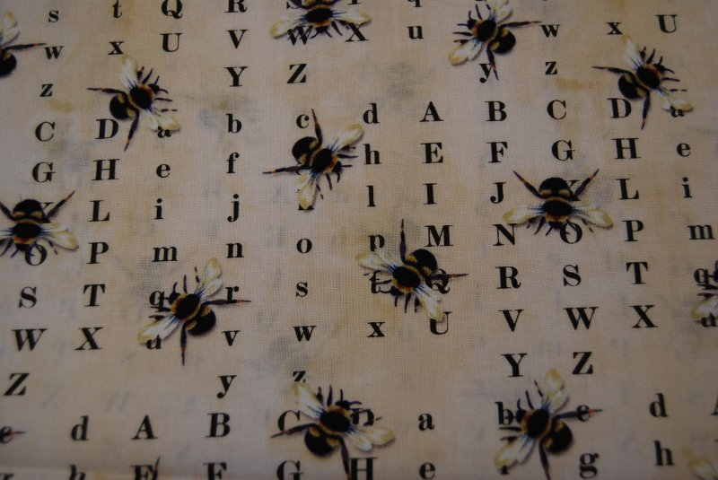 French Country Honey Bee Alphabetical Bumble Cotton Fabric Quilting CR110