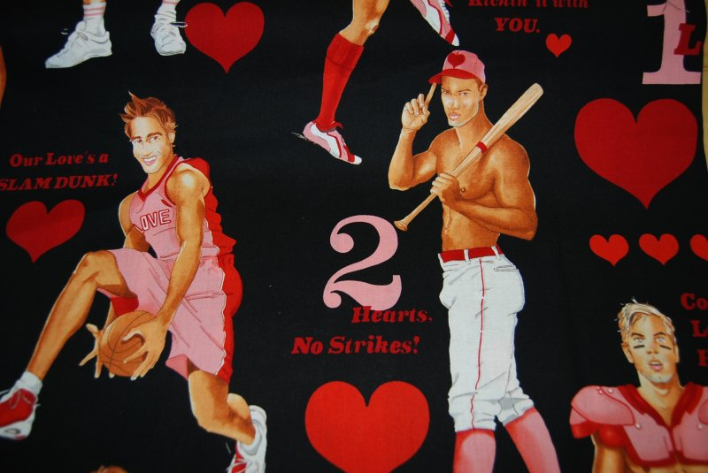 Sexy Pin Up Boys Guys Hot Stuff Valentine Heart Fabric Soccer Tennis Basketball Cotton Fabric Quilt Fabric AH99