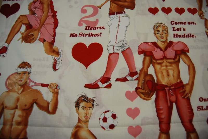 Sexy Pin Up Boys Guys Hot Stuff Valentine Heart Fabric Soccer Tennis Basketball Cotton Fabric Quilt Fabric AH98