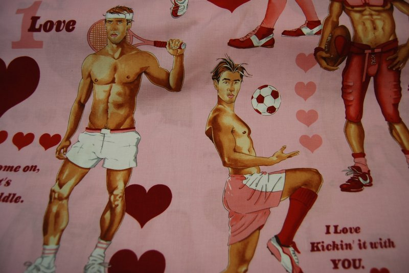 Sexy Pin Up Boys Guys Hot Stuff Valentine Heart Fabric Soccer Tennis Basketball Cotton Fabric Quilt Fabric AH97 CR105