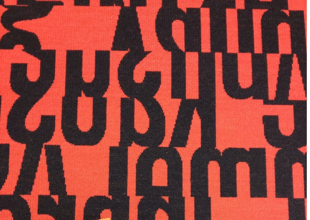 Mid Century Modern Maharam Letters Gunnar Aagaard Andersen Red Graphic Heavy Weight Upholstery Fabric BBL01 $125 Per Yard